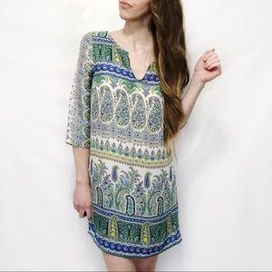 Zara Green Tribal Paisley Print Shift Tunic Dress